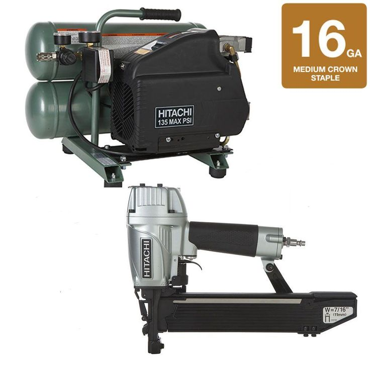 2-Piece 7/16 in. Crown Stapler and 4 gal. Electric Compressor Kit