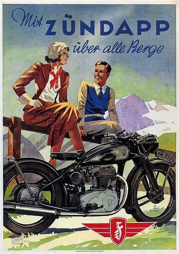 Vintage Zundapp motorcycle advertisement - 1938