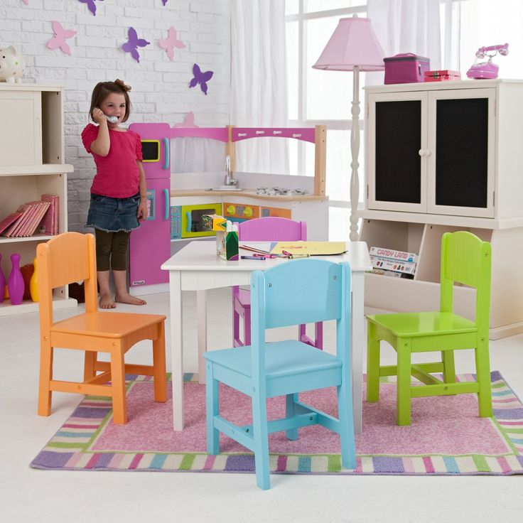 KidKraft Nantucket Big N Bright Table and Chair Set | .hayneedle.com : table chair set kids - pezcame.com