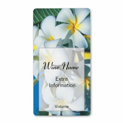 White Frangipani Wine Label