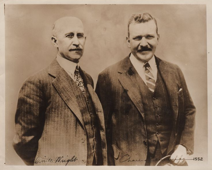 WRIGHT & LAWRANCE: WRIGHT ORVILLE (1871-1948) American Aviator who, with his brother Wilbur, invented and built the world's first successful airplane, making the first controlled, powered and sustained heavier-than-air human flight on 17th December 1903 & LAWRANCE CHARLES (1882-1950) American Aeronautical Engineer, an early proponent of air-cooled aircraft engines. A good vintage signed sepia photograph by both Wright and Lawrance individually.