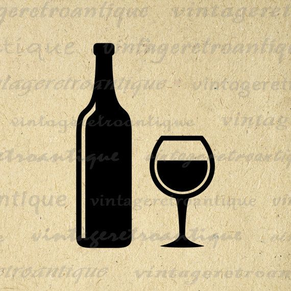 Digital Printable Wine Image Download Wine Bottle and Wine Glass Graphic Antique Clip Art for Transfers Printing etc HQ 300dpi No.3984
