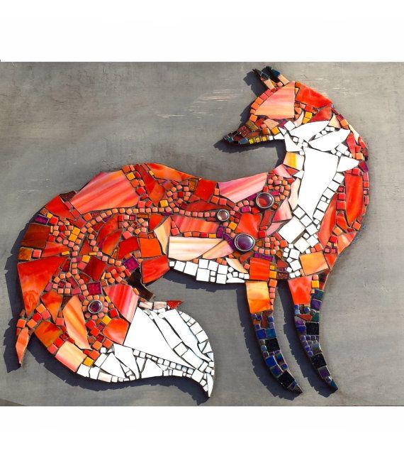 Benutzerdefinierte skurrilen Fox Wandkunst. Einzigartiges Mosaik Glaskunst. Ursprünglichen großen Waldgebietes Decor Wand hängen. Trendige Hipster gebeizt Glas Hauptdekor.