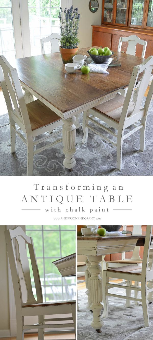 Antique kitchen table and chairs - Antique Dining Table Updated With Chalk Paint Antique Dining Tablesdining Table Chairskitchen