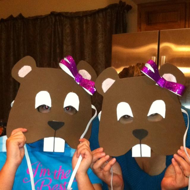 Beaver costume mask! We made ;)