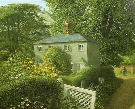 Albion Lane (1991) by John Shelley, oil on card 23.5 x 29in.