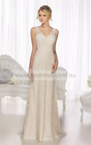 A-line Shoulder Straps Empire Sleeveless Floor-length Wedding Dresses wes0238--Hodress