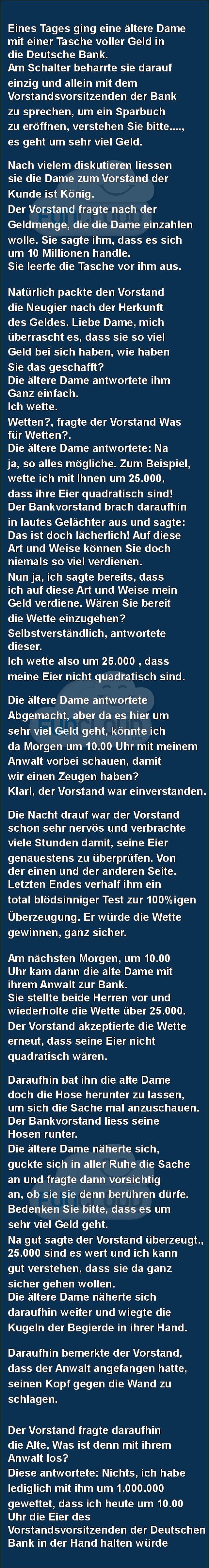 Eines Tages ging eine ältere Dame in die Deutsche Bank - spruchwerkstatt des Tages 11.03.2016 | Funcloud