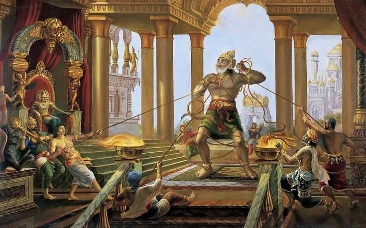 Hanuman In Ravana's Palace http://fineartamerica.com/featured/hanuman-in-ravanas-palace-vrindavan-das.html