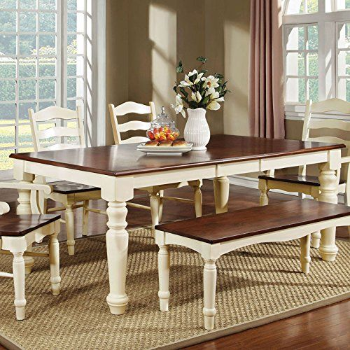 Country Dining Table With Bench: Palisade Country Style Cherry & White Finish Dining Table