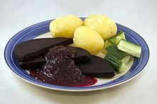 #Swedish cuisine - Wikipedia: Black pudding from Sweden. Sweetened and spiced, it is eaten with lingonberry jam, and sometimes bacon. [not a recipe!]