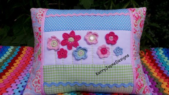 Beautiful Crochet and Patchwork cushion By KerryJayneDesigns.