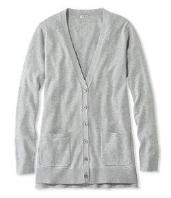 #LLBean: Cotton/Modal V-Neck Cardigan, Long Sleeve