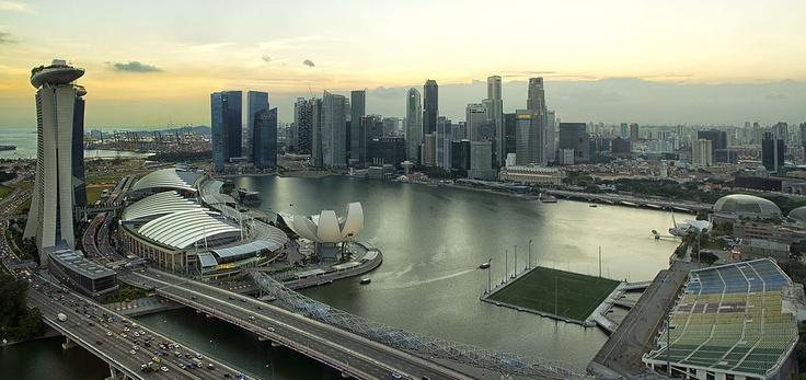 Floating Football Stadium Marina Bay Singapore Skyline National Stadium Singapore