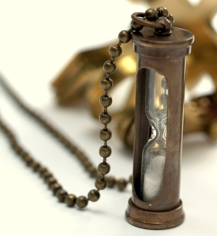 Antique Brass HourGlass , Sand Timer Necklace with Brass or Gold Plated Ball Chain. $19.00, via Etsy.