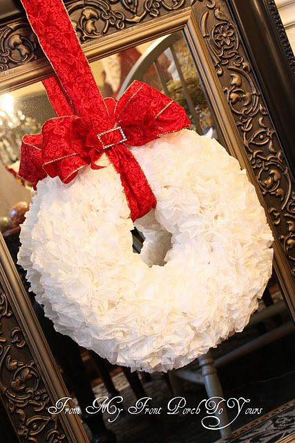 DIY Christmas wreath. Can you believe this beautiful wreath is made from coffee filters? Step by step instructions..