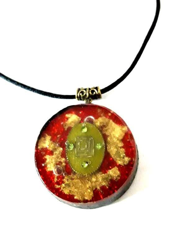 Orgone pendant-SHUNGIT Magic-Red-Orgone Shield by ORGONITHEKA