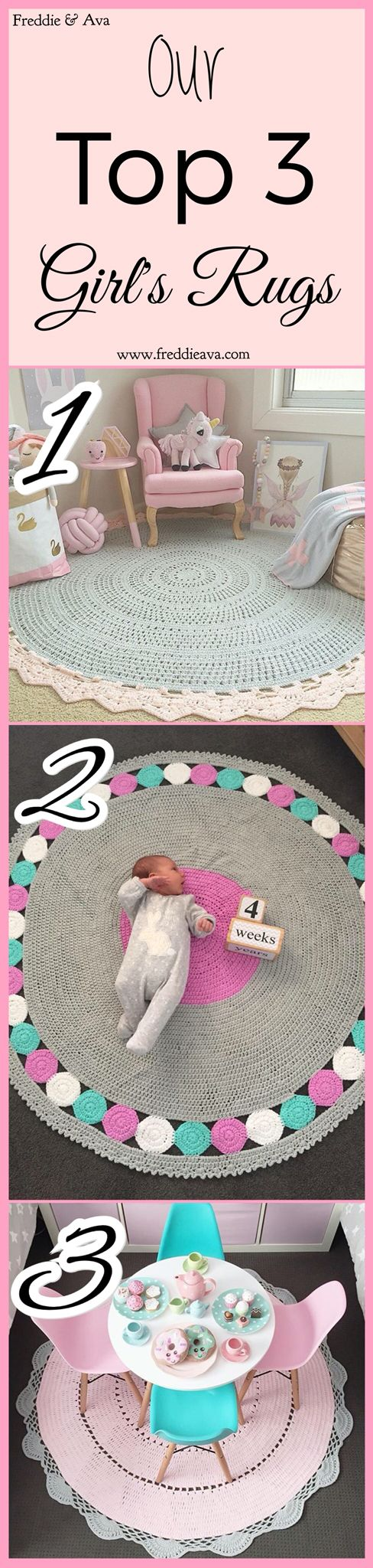 Ours and our customer's current favourites. Create the perfect little girl's bedroom with one of our handmade, round crochet rugs. Pink, purple, turquoise, light grey... Almost any colour you can think of can be custom made.