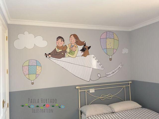 El bosque entintado . Vinilo ilustrado para la habitación del bebé. Ilustración infantil. Custom illustration