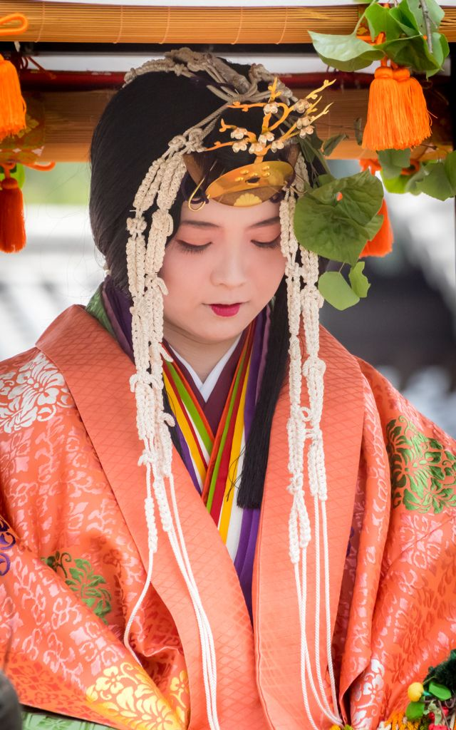 葵祭(aoi-matsuri)2015斎王代(saioudai) KYOTO,JAPAN A woman dressed in junihitoe