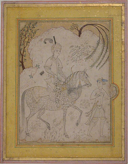 Prince and Groom Date: mid-16th century style Geography: Iran Medium: Ink, watercolor, and gold on paper Dimensions: H. 6 1/8 in. (15.6 cm) W. 4 7/8 in. (12.4 cm) Metropolitan Museum of Art 45.174.26