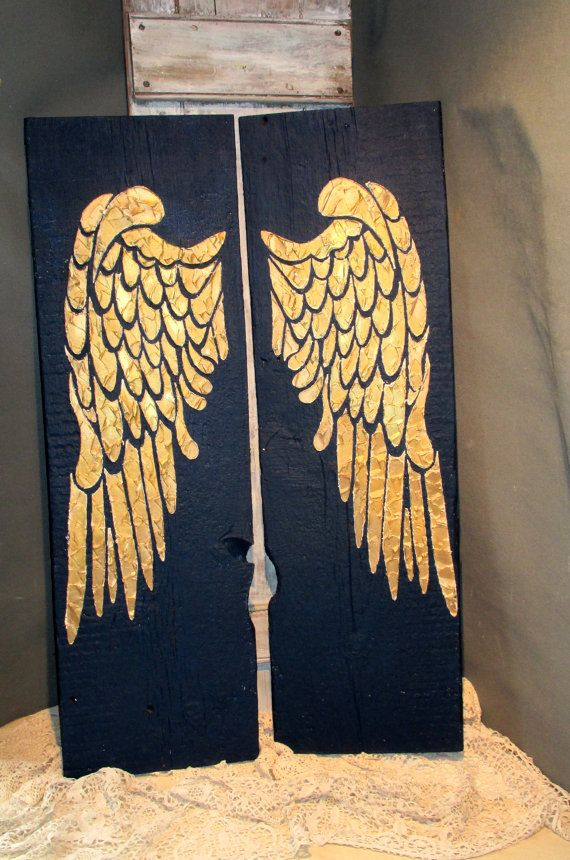 Angel Wings, Large Angel Wings, Angel Wings Wall Decor, Angel Wing Wall Art, Wood Angel Wings, Recycled Wood, Distressed Wood Sign