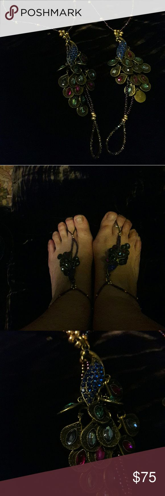 """Barefoot Sandals These are unique, one of a kind barefoot sandals made especially for """"big beautiful girls"""". The ankle bracelet is a total of 12"""" around...6"""" on each side. From the gold beads at the toe to the gold beads at the top of the peacocks head is a total of 4"""". The jewel tones in these beautiful sandals are stunning and oh so sexy! I am the designer and make jewelry for harder to fit ladies. Shoes Sandals"""