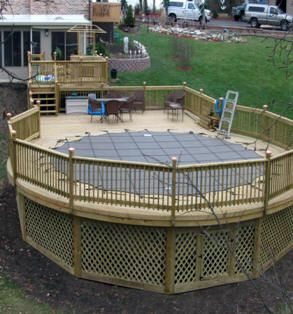 for round poolbut replace spindles with wide slat wood for privacy raleigh nc above ground pool deck builder cost