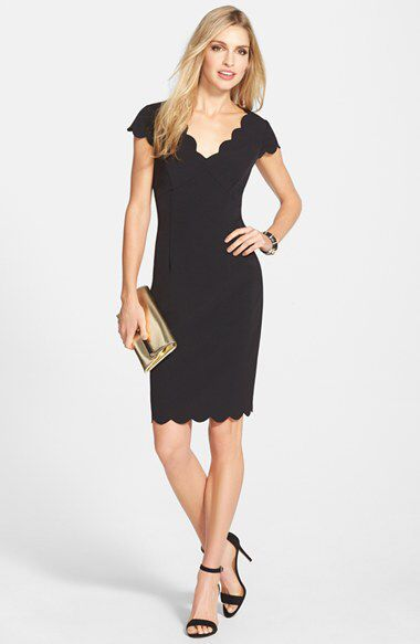 Adrianna Papell Adrianna Papell Scalloped Crepe Sheath Dress (Regular & Petite) available at #Nordstrom