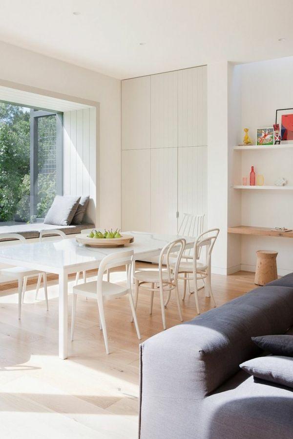 Einrichtungsideen Esszimmer Weiße Möbelstücke Schlichtes Design