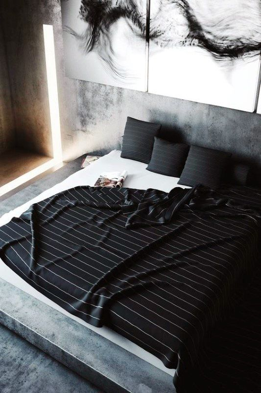 Guy Bedroom Decor With Black Sheets                                                                                                                                                                                 More