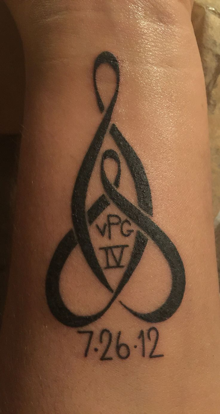 Mother & Son Celtic knot wrist tattoo. My sons initials & birth date.
