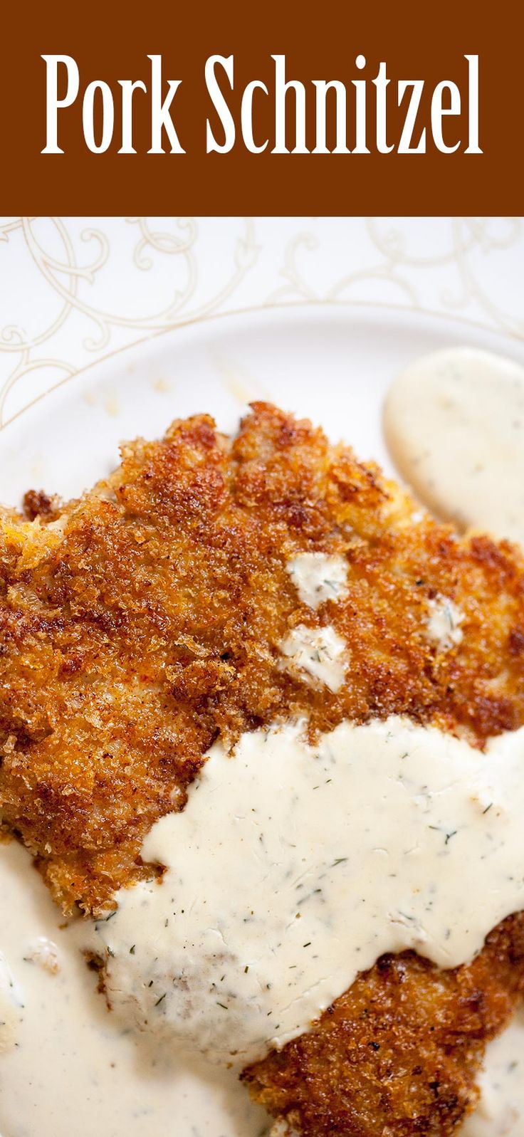 Pork Schnitzel! 1-Pot, 30 Min, Thinly pounded breaded pork cutlets, browned and served with a creamy dill sauce.
