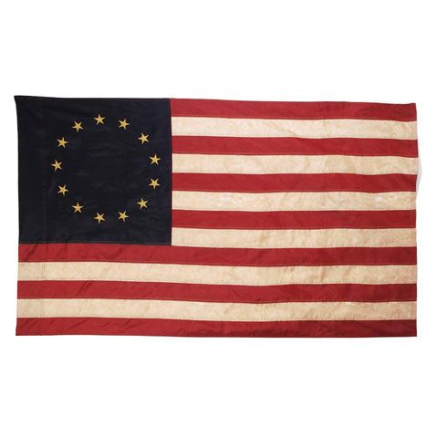 ConsumerCrafts Product Vintage Look, 13 Star Colonial, Tea Stained American Flag