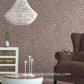 Papel pintado imitación piel de leopardo marrón fondo beige PDW9473629 imágenes