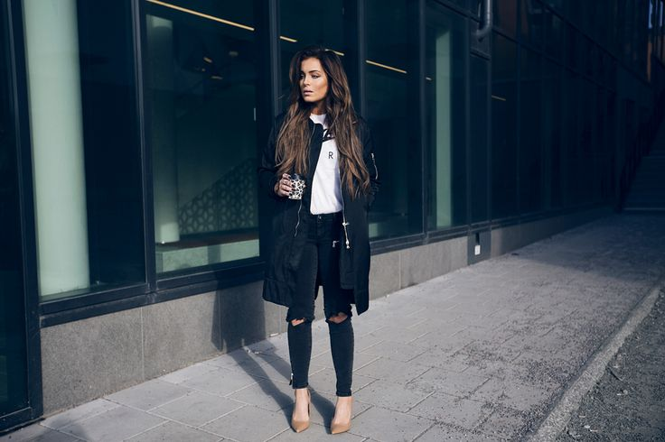 Black bomber coat