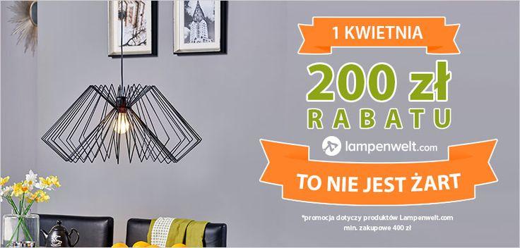 Tylko 1 kwietnia wyjątkowa promocja dla wiernych Klientów - 200 zł rabatu na lampy marki własnej Lampenwelt.com przy minimum zakupowym 400 zł. Taka okazja zdarza się tylko raz! Nie przegap szansy na wymarzone oświetlenie w korzystnej cenie!