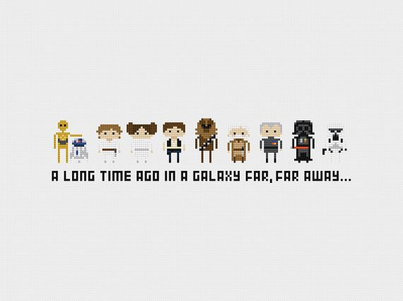 Star Wars Episode IV  A New Hope Cross Stitch by pixelsinstitches, $5.00 Might look better on a blue background? So you can see the white better