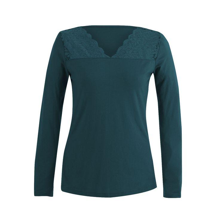 Shirt met kant, smaragdgroen