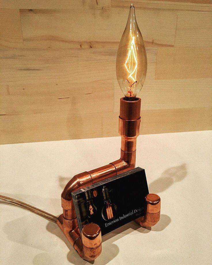 Handmade Industrial Copper Pipe Business Card Holder & Accent Lamp by EmersonIndustrialCo on Etsy
