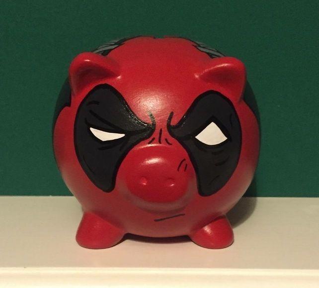 Deadpool Marvel themed Superhero Hand Painted Piggy Bank money box Gift birthday £12.99