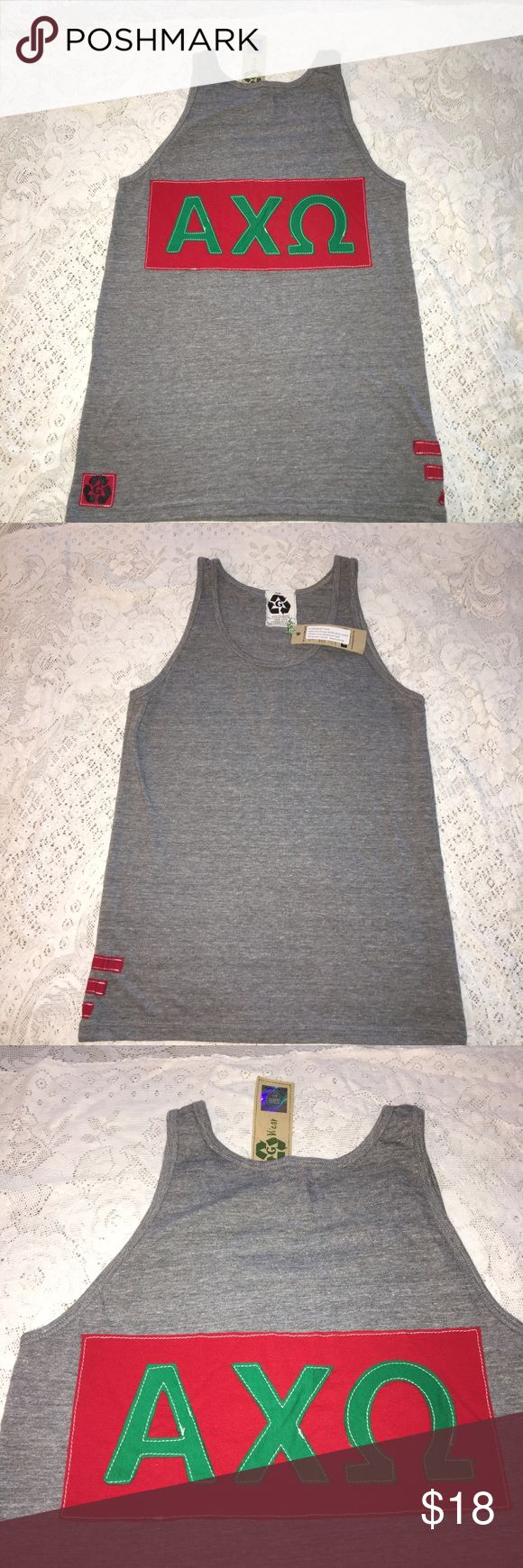 NWT Alpha Chi Omega gray boyfriend sorority tank NWT Alpha Chi Omega gray, red & green scoop neck tank top. Size AM. 50% polyester 25% cotton 25% rayon. Red & green sorority lettering symbol on back. Solid front. Made in USA. $36 retail. Rare and one of a kind. #greek #life #college #university #alpha #chi #omega #sorority #pledge #gray #red #green #big #little #sister #nwt #tank #new #scoop Never used. Smoke free home. Check closet for similar items & additional sororities. ❌no trades❌ FIRM…