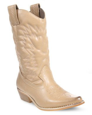 Embrace a cowboy-chic style with Bronx'sWestee Cowboy Boots. These nude boots have synthetic leather uppers and 4cm, block heels. They feature the standard, cowboy boot shape with pull tabs on the sides for easy slip on. Western-inspired stitching adds funky detailing whilst their pointed toe-caps give these shoes afeminine flair. Don these black beauties with sheer stockings, denim shorts and a shirt for an eclectic, country-chic look.
