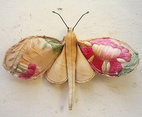 moth made from vintage silk kimono