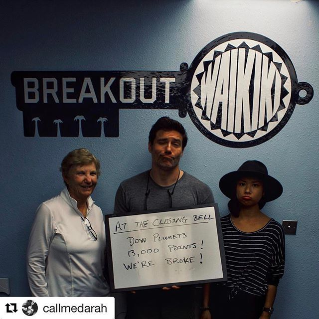 #Repost @callmedarah with @repostapp  ・・・  Feeling defeated after an hour at the Ala Moana Stock Exchange. Escape Room, 1. Us, 0.