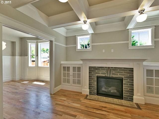 "Box-beam celing, oversized mantle, and built-ins... checked all the ""craftsman style"" boxes I love!"