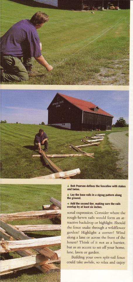 Harrowsmith Country Life - how to install a cedar split rail fence snake style