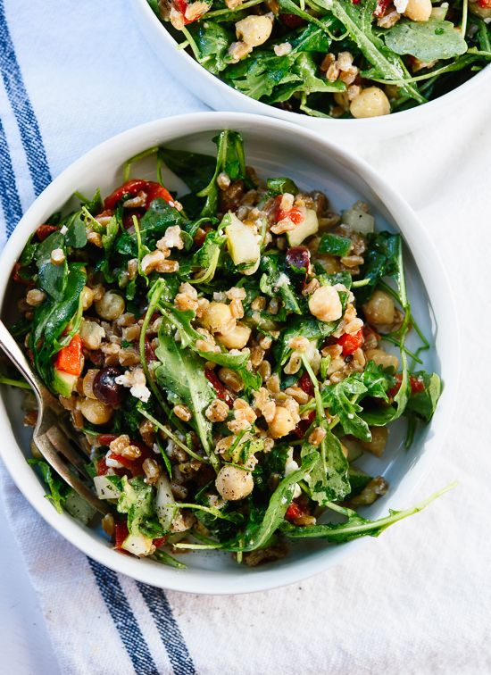 Greek farro salad, a fresh whole grain salad featuring fresh Mediterranean flavors! - cookieandkate.com