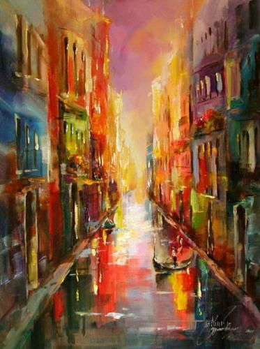 """""""CITY IN BLUE 2"""" by Anna Razumovskaya, a tremendously talented artist whose works are filled with color and movement!"""