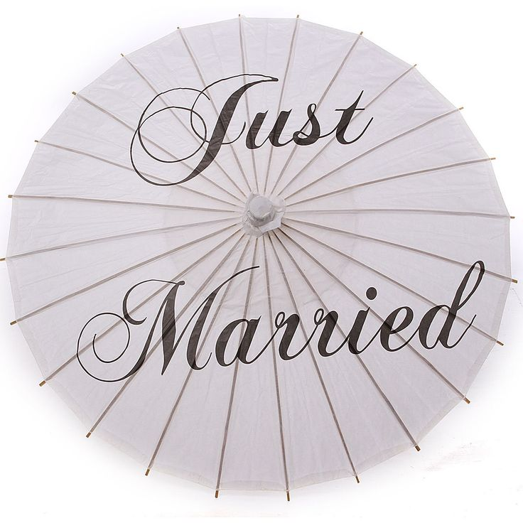 Bamboo White Paper Parasol Umbrella Just Married Mr & Mrs Thank You Wedding Bridal Favor